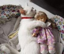 Kuscheln mit Puppe